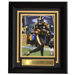 Le'Veon Bell Signed Pittsburgh Steelers 11x14 Custom Framed Photo Display (JSA COA)