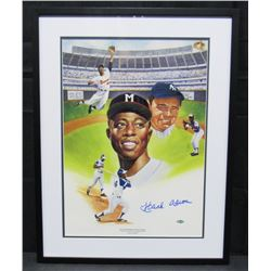 Hank Aaron Signed Milwaukee Braves 18x24 Custom Framed Limited Edition Lithograph (Steiner COA)
