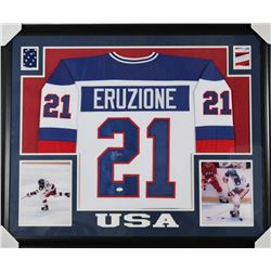 "Mike Eruzione Signed Team USA ""Miracle on Ice"" 31x35 Custom Framed Jersey (JSA COA)"