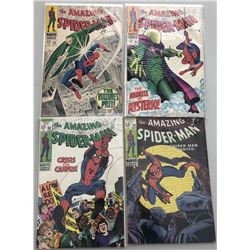 Lot of (4) 1968 Marvel Amazing Spider-Man Comic Books with Issues #64, #66, #68  #70