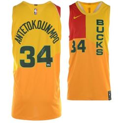 Giannis Antetokounmpo Signed Milwaukee Bucks Yellow City Edition Authentic Nike Jersey (Fanatics Hol