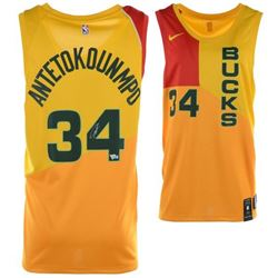 Giannis Antetokounmpo Signed Milwaukee Bucks Yellow City Edition Nike Jersey (Fanatics Hologram)