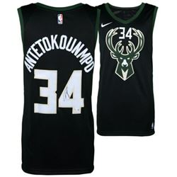 Giannis Antetokounmpo Signed Milwaukee Bucks Nike Black Statement Edition Jersey (Fanatics Hologram)