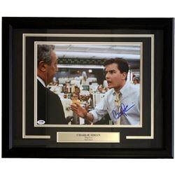 "Charlie Sheen Signed ""The Wolf of Wall Street"" 11x14 Custom Framed Photo Display (PSA COA)"