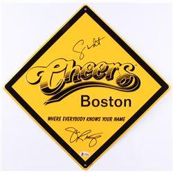 """George Wendt  John Ratzenberger Signed """"Cheers"""" 12x12 Street Sign (Beckett COA)"""