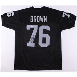 "Bob Brown Signed Oakland Raiders Jersey Inscribed ""HOF 04"" (JSA COA)"