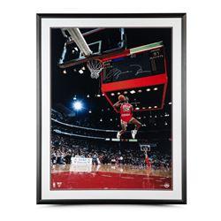 "Michael Jordan Signed Chicago Bulls ""1988 Scoreboard Dunk"" 30x40 Custom Framed Photo Display (UDA CO"