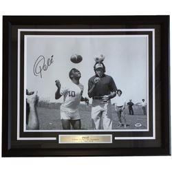 Pele Signed 22x27 Custom Framed Photo Display (PSA COA)