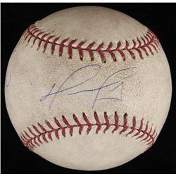 """David Ortiz Signed Game-Used OML Baseball Inscribed """"3 Hit 1 Run"""" (Steiner LOA  MLB Hologram)"""