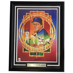 "Tom Seaver Signed ""The Franchise"" 24x32 Custom Framed Lithograph Display (JSA COA)"