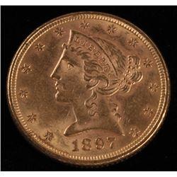 1897 $5 Five Dollars Liberty Head Half Eagle Gold Coin