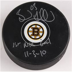 """Brad Marchand Signed Boston Bruins Logo Hockey Puck Inscribed """"1st NHL Goal 11-3-10"""" (Marchand Holog"""