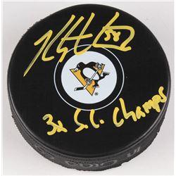 "Kris Letang Signed Pittsburg Penguins Logo Hockey Puck Inscribed ""3x S.C. Champs"" (Letang Hologram)"