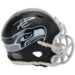 Russell Wilson Signed Seattle Seahawks Custom Matte Black Mini Speed Helmet (Fanatics Hologram)