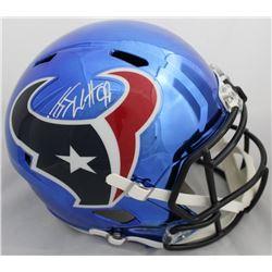 J.J. Watt Signed Texans Full-Size Chrome Speed Helmet (JSA COA  Watt Hologram)