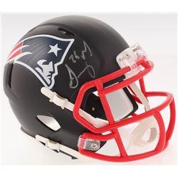Sony Michel Signed New England Patriots Custom Matte Black Speed Mini Helmet (Beckett COA)