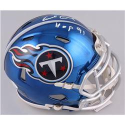 "Earl Campbell Signed Tennessee Titans Chrome Speed Mini-Helmet Inscribed ""HOF 91"" (JSA COA)"