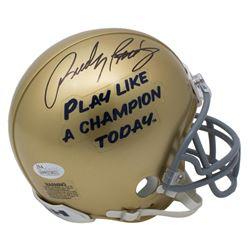 "Rudy Ruettiger Signed Notre Dame Fighting Irish ""Play Like A Champion Today"" Mini Helmet (JSA COA)"