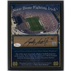 Rudy Ruettiger Signed Notre Dame Fighting Irish 8x10 Plaque with Bench Slab (JSA COA  Steiner Hologr
