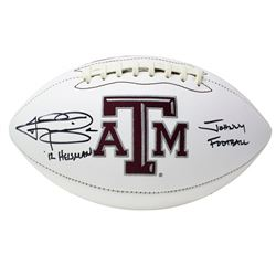 "Johnny Manziel Signed Texas AM Aggies Logo Football Inscribed ""12 Heisman""  ""Johnny Football"" (JSA C"