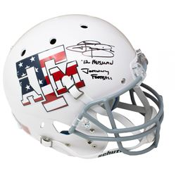 "Johnny Manziel Signed Texas AM Aggies ""Stars  Stripes"" Matte White Schutt Full-Size Helmet Inscribed"