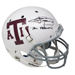 "Johnny Manziel Signed Texas AM Aggies Matte White Schutt Full-Size Helmet Inscribed ""'12 Heisman"" (J"