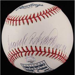 """Frank Robinson Signed Hall of Fame OML Baseball Inscribed """"HOF 82"""" (MLB Hologram  Ironclad Hologram)"""