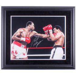 "Larry Holmes Signed 23x27 Custom Framed Photo Display Inscribed ""Easton Assassin"" (Schwartz COA)"