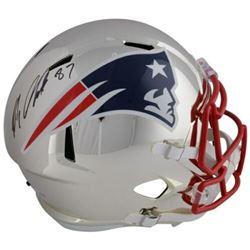 Rob Gronkowski Signed New England Patriots Custom Chrome Full-Size Speed Helmet (Fanatics Hologram)