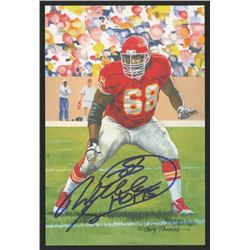 Will Shields Signed 2015 LE Kansas City Chiefs 4x6 Pro Football Hall of Fame Art Collection Card Ins