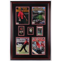 Tiger Woods Sports Illustrated Magazine 24x35 Custom Framed Display with Trading Cards