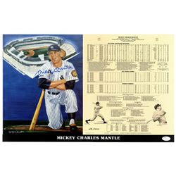 Mickey Mantle Signed New York Yankees 14x21 Limited Edition Scorecard (JSA LOA)