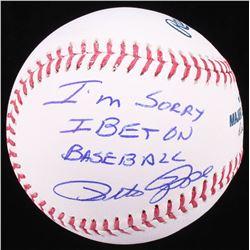 """Pete Rose Signed OML Baseball Inscribed """"I'M SORRY I BET ON BASEBALL"""" (Radtke COA)"""