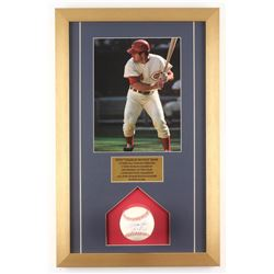 "Pete Rose Signed Cincinnati Reds 14x22 Custom Framed ONL Baseball Display Inscribed ""Hit King"" (JSA"