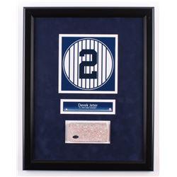 Derek Jeter 16.5x20.5 Custom Framed Number Display with Authentic Monument Park Brick (Steiner COA)