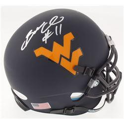 Bruce Irvin Signed West Virginia Mountaineers Custom Matte Blue Mini Helmet (JSA COA)
