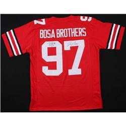 """Nick Bosa  Joey Bosa Signed Ohio State Buckeyes """"Bosa Brothers"""" Jersey (JSA COA)"""