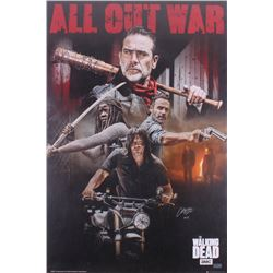 """Chandler Riggs Signed The Walking Dead """"All Out War"""" 24x36 Poster Inscribed """"Carl"""" (Radtke COA)"""