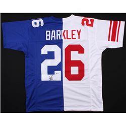 Saquon Barkley Signed New York Giants Home / Away Split Jersey (Beckett COA)