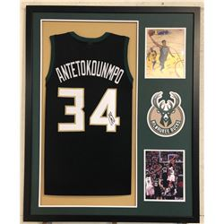 Giannis Antetokounmpo Signed Milwaukee Bucks 34x42 Custom Framed Jersey (JSA COA)