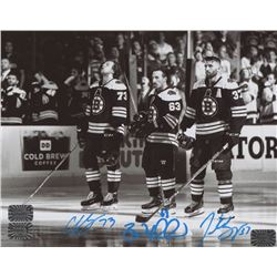 Brad Marchand, Patrice Bergeron  Charlie McAvoy Signed Boston Bruins 8x10 Photo (Marchand, Bergeron