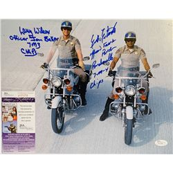 "Erik Estrada  Larry Wilcox Signed ""CHiPs"" 11x14 Photo with Inscriptions (JSA COA)"