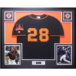 Buster Posey Signed Giants 35x43 Custom Framed Jersey Display (Beckett COA)