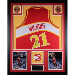 Dominique Wilkins Signed Atlanta Hawks 35x43 Custom Framed Jersey Display (JSA COA)