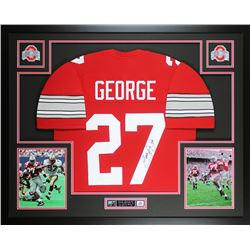Eddie George Signed Ohio State Buckeyes 35x43 Custom Framed Jersey Display (JSA COA)