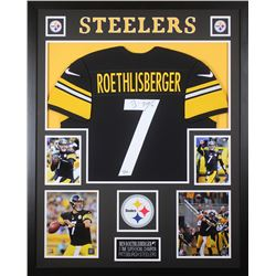 Ben Roethlisberger Signed Pittsburgh Steelers 35x43 Custom Framed Jersey (Fanatics Hologram)