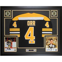 Bobby Orr Signed Boston Bruins 35x43 Custom Framed Jersey (PSA  GNR COA)