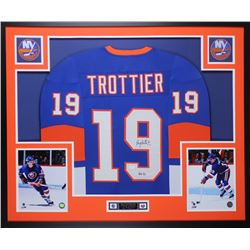 Bryan Trottier Signed New York Islanders 35x43 Custom Framed Jersey (JSA COA)