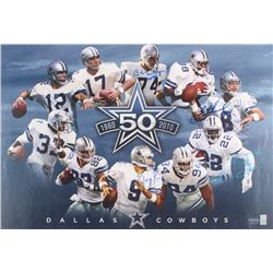 Dallas Cowboys 50 Year Anniversary 19x28 Poster Signed By (4) with Bob Lilly, Troy Aikman, Tony Romo