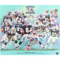 Dallas Cowboys 20x24 Poster Signed By (4) with Randy White, Troy Aikman, Tony Romo  Emmitt Smith Ins